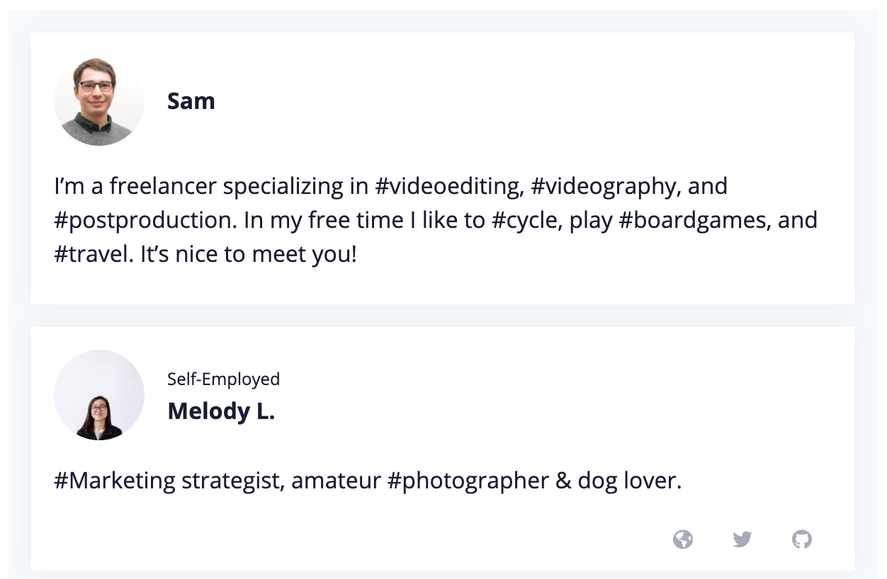 The community bios of freelancers Sam and Melody L. are shown here inside a widget, which can be copied and pasted right onto your website.