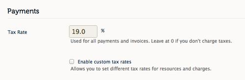 Enable custom tax rates