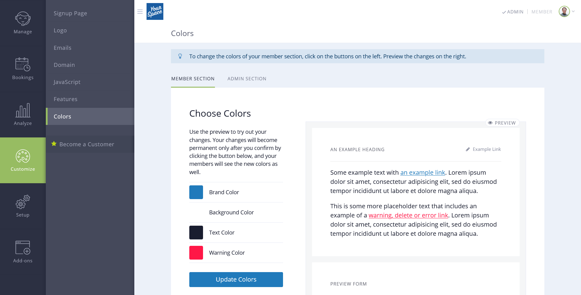 New white-label features: custom colors, copy and domains