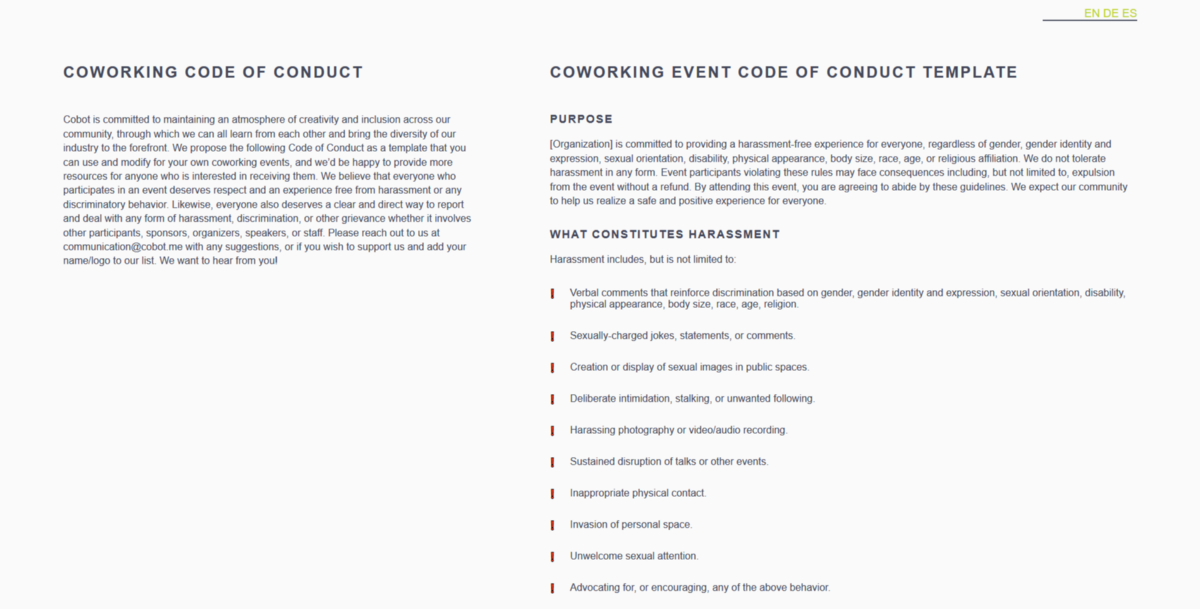 A New Free-to-Use Code of Conduct Template